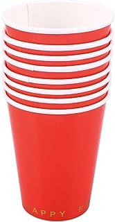 BESTOYARD Vaisselle Papier Jetable Feuille pour Anniversaire 8PCS (Rouge)