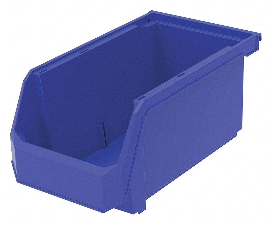 Hang and Stack Bin, Blue, 14-3/4'' Outside Length, 8-1/4'' Outside Width, 7'' Outside Height pack of 5