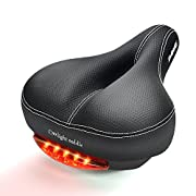 #LightningDeal DAWAY Comfortable Men Women Bike Seat - C99 Memory Foam Padded Leather Wide Bicycle Saddle Cushion with Taillight, Waterproof, Dual Spring Suspension, Soft, Breathable, Universal Fit, 1 Year Warranty