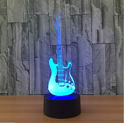 RTYHI 3D Night Light Creative 3D Light Electric Guitar Model Illusion 3D Lamp Led 7 Color Changing USB Touch Sensor Desk Light Night -