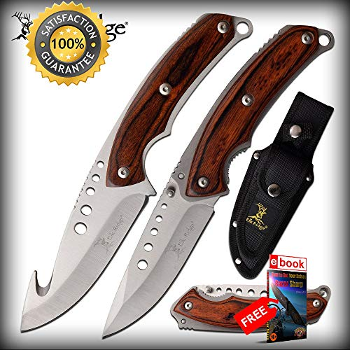 Hunting SHARP KNIFE Set Elk Ridge FIXED BLADE Gut Hook + Folder Brown Wood + Sheath Combat Tactical Knife + eBOOK by Moon Knives