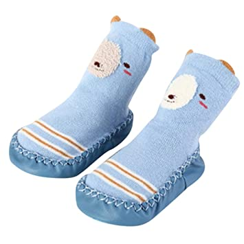 1de58bd0fcbee Amazon.com: HP95 Toddlers Winter Non Skid Socks Shoes Soft Cartoon ...
