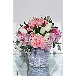 Four Seasons Tulips Rose Sweetpea Hydrangea Table Vase Display 119