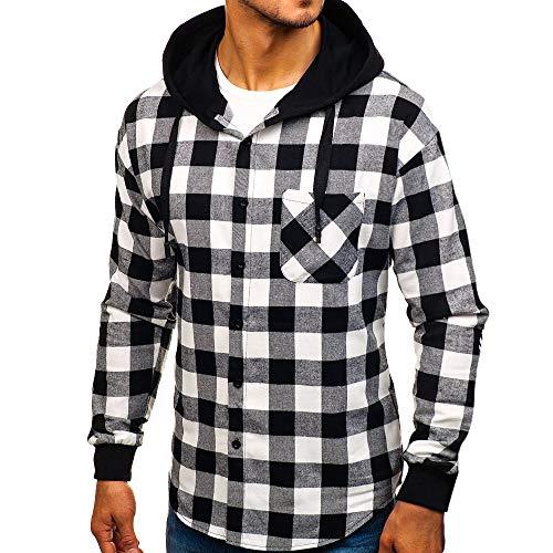 Homme Pullover outwear Capuche À Sweatshirt Cebbay Chemisier Hiver Pull Plaid Manteau Noir Automne Sweat UYqnUpw5x