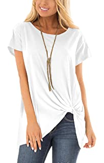 cdd811cd4048 Viishow Women's Casual Short Sleeve Solid T Shirts Twist Knot Tunics Tops  Blouses