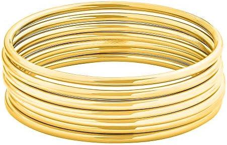 Edforce Stainless Steel Glossy Thin Round Bangle Bracelet Set for Women, Set of seven