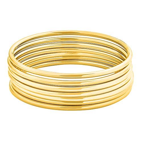 Gold Stackable Bangle - Edforce Stainless Steel Glossy Thin Round Bangle Bracelet Set for Women, Set of 7, 7.8