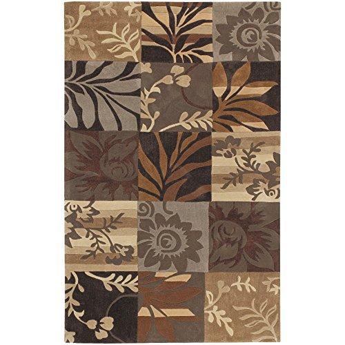 Surya Cosmopolitan COS-8817 Transitional Hand Tufted 100% Polyester Dark Chocolate 5' x 8' Floral Area Rug