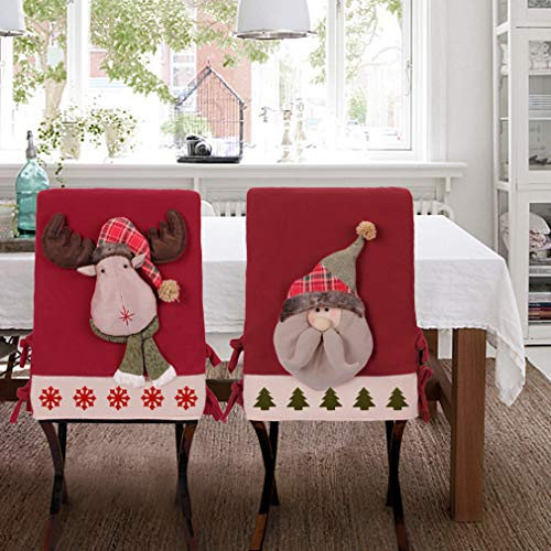 (VIAME Christmas Chair Back Covers (2 Pack), Handmade Santa Hat Chair Covers for Christmas Kitchen)