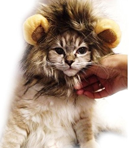 YONGER Cute Lion Mane Wig for Dog Cat Party Santa Gift Christmas Dress up with Ears (Cat Dog Halloween)
