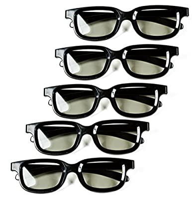 Optical Prime (5 Pack) 3D Glasses for Passive Tv's - Best Universal 3D Movie Theater Glasses, For Gaming, 3D TVs, Projections - For Teens & Adults