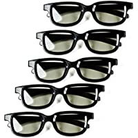 Optical Prime 3D (5 Pack) 3D Cinema Glasses For Passive TVs – Movie Theater Glasses - Circular Polarized.