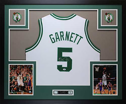 Kevin Garnett Autographed White Celtics Jersey - Beautifully Matted and Framed - Hand Signed By Kevin Garnett and Certified Authentic by PSA COA - Includes Certificate of Authenticity