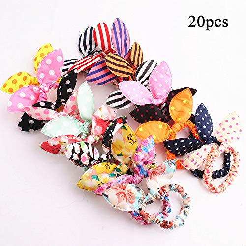 Cayder 20pcs Cute Girls Rabbit Ear Hair Tie Bands Ropes Ponytail Holder ties(20pcs)