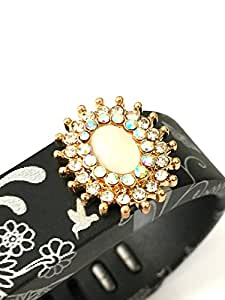 BSI 1pc Small Ornament Design Color Band with Jewelry Crystals Decoration /Crystal Flower with White Pearl and Diamonds/ for Fitbit FLEX Only With Metal Clasp Replacement /No tracker/+ Nice Crystals Feather Brooch