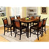 Lianne Acacia Cottage Style Black Finish Counter Height 7-Piece Dining Table Set