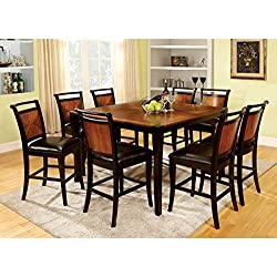 247SHOPATHOME IDF-3034PT-7PC-SET Dining-Room, 7-Piece Set, Black