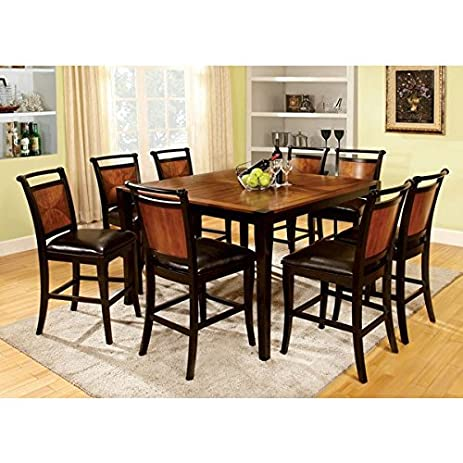 Lianne Acacia Cottage Style Black Finish Counter Height 7 Piece Dining  Table Set