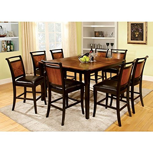 Lianne Acacia Cottage Style Black Finish Counter Height 9-Piece Dining Table Set