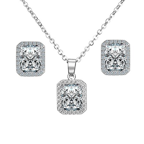 vesfashion Jewelry 18k White Gold Plated Fashion Jewelry Sets for Women White Pendant Necklace Square Stud Earring Jewelry Set Costume Jewelry Sets Vintage Jewelry Set Fashion Jewelry Sets ML019