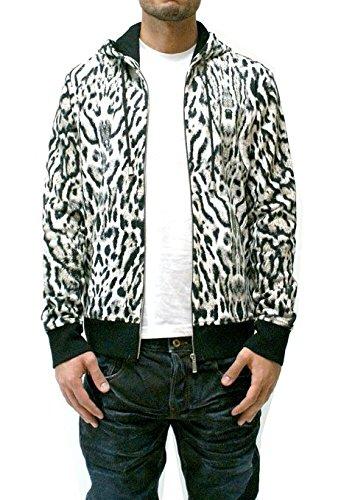 Cavalli White/Black Animal Print Zip Up Hoodie (2XL)