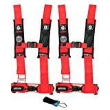 Pro Armor A114230RD P151100 Red 4-Point Harness 3'' Straps, 2 Pack w/Seat Belt Bypass Clip