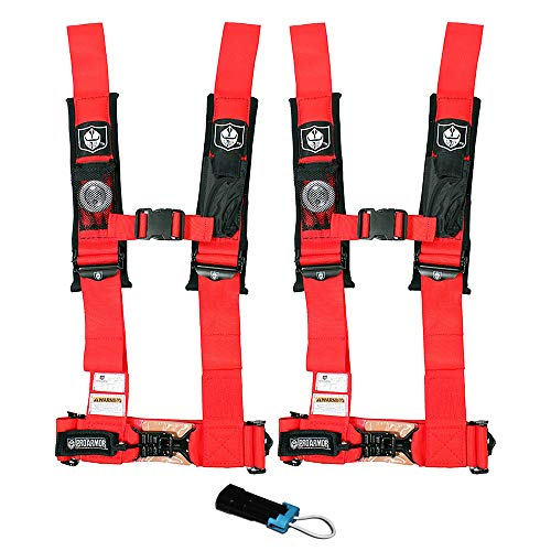 (Pro Armor A114230RD P151100 Red 4-Point Harness 3 Inch Straps, 2 Pack RZR UTV Seat Lap Belt with Bypass Clip)