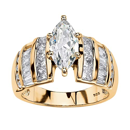 14K Yellow Gold over Sterling Silver Marquise Cut Cubic Zirconia Step Top Engagement Ring Size 8 - Gold Tapered Ring