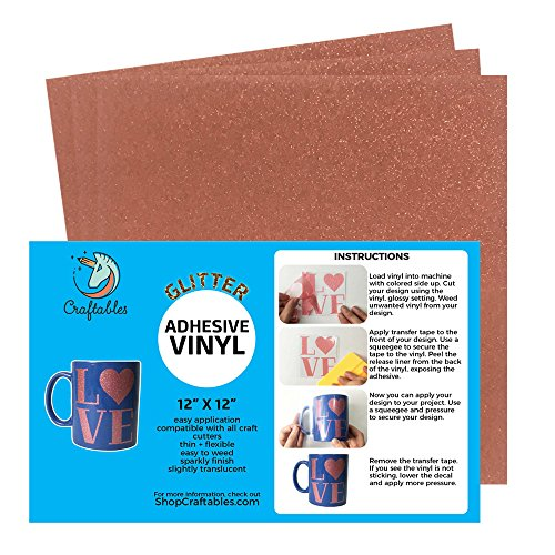 Craftables Rose Gold Glitter Adhesive Vinyl for Cricut, Silhouette Cameo, and Craft Cutters - (3) 12in x 12in Sheets