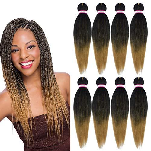 Liyate Pre Stretched Braiding Hair 20 Inch 8 Packs/Lot Professional Itch Free Hot Water Setting Synthetic Fiber Crochet Braids Braiding Yaki Texture Hair Extension Twist Braid (#1B/27)