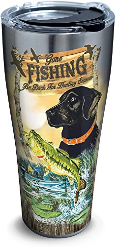 Tervis 1293942 Guy Harvey-Gone Fishing Tumbler with Clear and Black Hammer Lid, 30 oz Stainless Steel, Silver