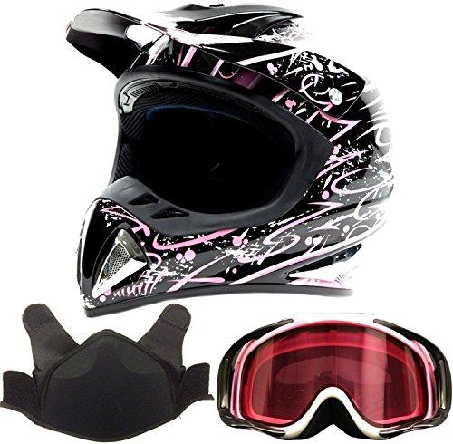 Adult Snocross Snowmobile Helmet & Goggle Combo - Pink ( XL )