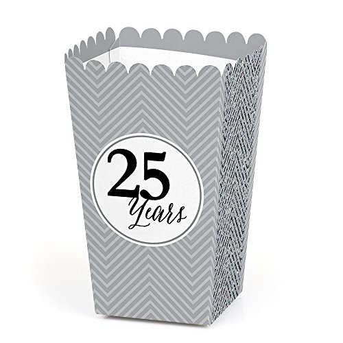25th Anniversary Favor Boxes (We Still Do - Silver 25th Wedding Anniversary Party Favors Popcorn Treat Boxes - Set of 12)