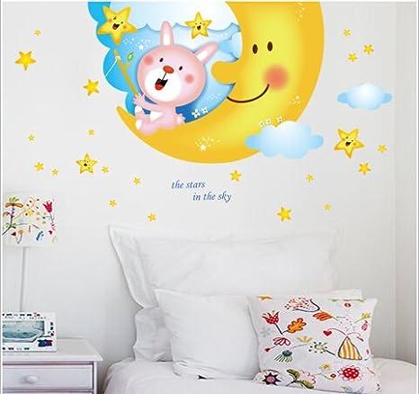 Wulty Tm Grande Disegno Luna Di Adesivi Murali Camera Bambini Sul