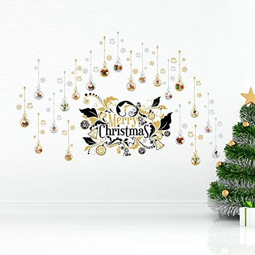 WALPLUS Removable Wall Stickers Peel and Sticks Art Decal Wallpaper Gift for Home Bedroom DIY Merry Christmas Ornaments Big Set Wall Stickers