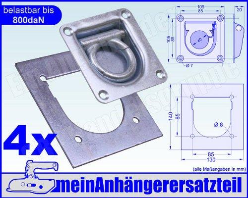 Contre Plaque 800/daN 800/kg 4/x zurrmulden zurr/ösen