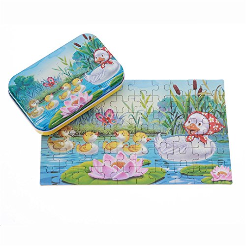 Dodge Baffle - 60pcs Diy Puzzle Duck Fairy Tale Cartoon Jigsaw Tin Box Kid Child Educational Gift Collection Toy - Parry Elude Amaze Fudge Perplex Skirt Dumbfound Sidestep ()