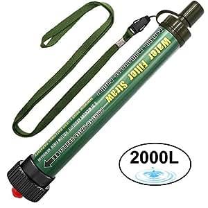 Filtro de Agua DeFe 2000L Personal Sistema de Filtración de Agua 0.01 Micron Mini Purificador de Agua Portátil para Excursionismo Campamento Acampada Supervivencia y Preparación de Emergencias (Verde)