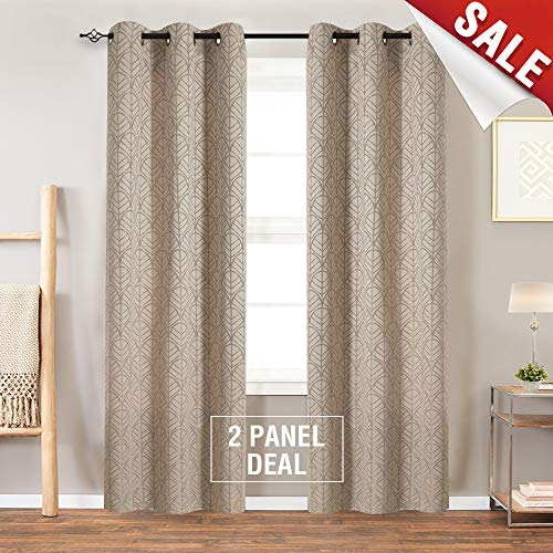 Jacquard Window Curtains for Living Room 84 inch Long Leaf Pattern Opaque Light Filtering Curtain Panels for Bedroom Privacy Window Treatment Set, Grommet Top, Gold, 1 Pair