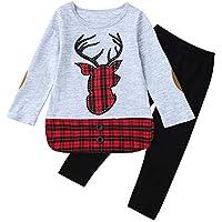 MONsin Baby Girls Christmas Tops Pants Toddler Child Girls Xmas Embroidery Deer Plaid Clothing Set