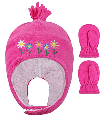 (Boys Polar Fleece Winter Set Hat and Mittens for Girls,Flower Fushia,2-4 Years)