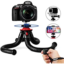 """Tripods for Phone, Fotopro 12"""" Flexible Tripod with Bluetooth 4.0 for iPhone X 8 Plus,Samsung S9,Waterproof and Anti-Crack Camera Tripod for GoPro Canon Nikon DSLR, CellphoneTripod Stand for landscape"""