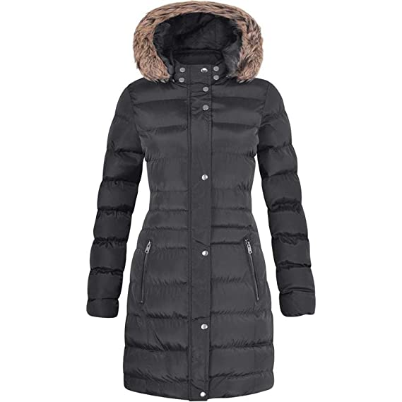 f84ab31bb Spindle Womens Long Fur Trimmed Hooded Padded Puffer Parka Ladies Winter  Jacket Coat