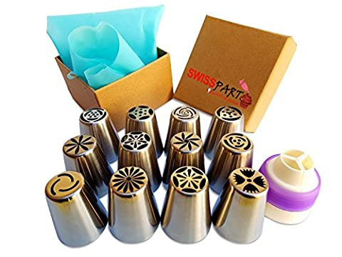 12pcs Stainless Steel Russian Cake Decorating Icing Tips Kit Extra Large Pastry Piping Nozzles and 18