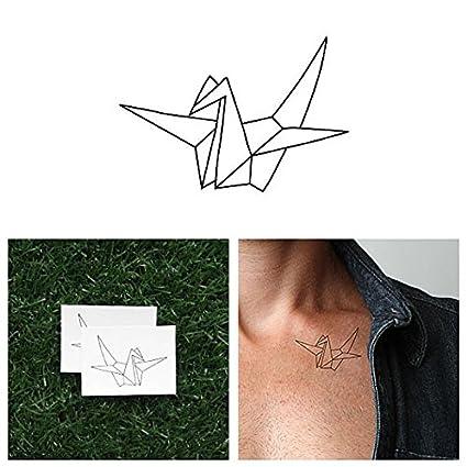 Tatuaje Temporal Tattify - Grulla de origami - Ilusiones (juego de 2)