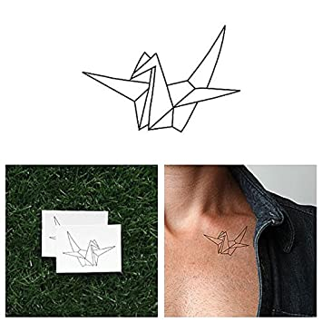30c7a8c96 Amazon.com : Tattify Origami Crane Temporary Tattoo - Wishful Thinking (Set  of 2) - Other Styles Available - Fashionable Temporary Tattoos - Tattoos  are ...