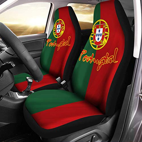 Portugal Coat - Portuguese Coat of Arms Portugal Flag Car Seat Covers Set of 2 Size Universal Fit