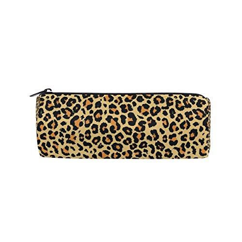 ALAZA Yellow Leopard Zipper Pencil Pen Case Pouch Bag for Gi