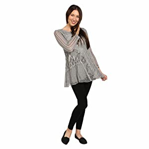 Women's Greige Tunic Sweater - Soft Gray Lacey Knit Top - Large