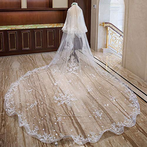 LINLIN 4 M Ivory White Bridal Veil Long Trailing Cathedral Applique Tulle with Comb Butterfly Lace Wedding Dress Accessories